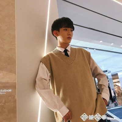 秋冬季寬鬆無袖毛衣chic韓版男士坎肩袖V領針織馬甲背心學院風