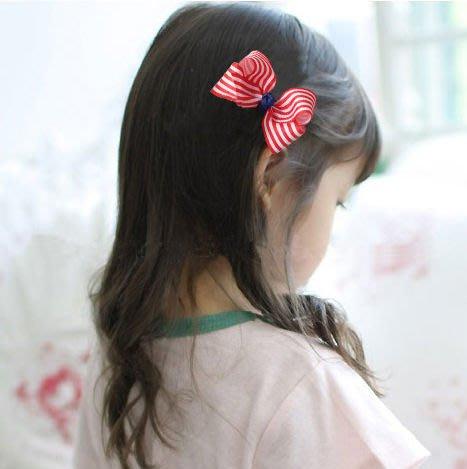 BHH028-韓國進口POPKID韓劇童星愛用品牌 韓國可愛條紋蝴蝶結髮夾【現貨】韓國製