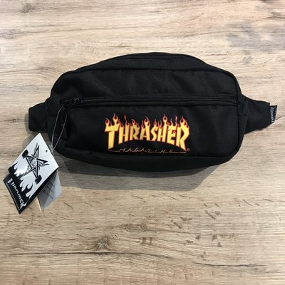 【MASS】Thrasher Flame Fanny Pack Waist Bag 火焰 腰包 黑色