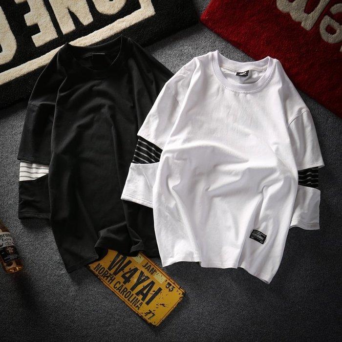 日繫7七分袖打底衫T恤男士寬鬆學生短袖正韓個性潮流半袖中袖上衣