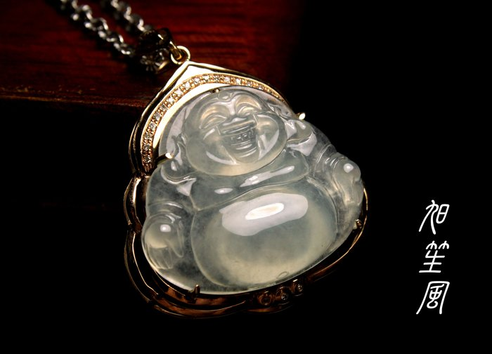【旭笙風】天然緬甸A貨玻璃種起瑩放光翡翠「招財彌勒」K金真鑽設計款