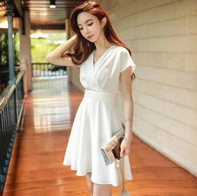 S7B0U短袖洋裝本白色交叉V領收腰塔克摺短袖洋裝許願魔鏡@wishing Mirror-*-D18BDR178
