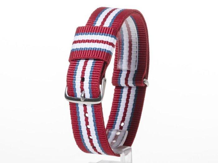 DW款式 編織加厚尼龍錶帶 尼龍手錶帶 – 20mm銀色 – 七色紅 FA-38803