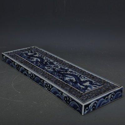 ㊣姥姥的寶藏㊣ 大明宣德青花海水龍紋鏤空長方形茶盤  官窯古瓷器手工瓷古玩收藏