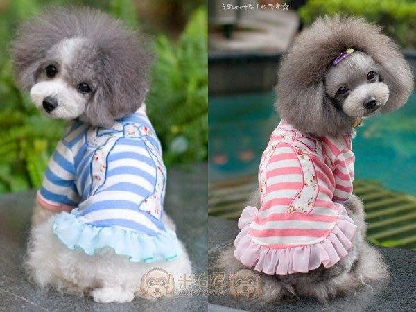 ~米狗屋~春夏款~cheer大蝴蝶結橫條紋長袖荷葉裙˙粉紅色 S、M /水藍色 L