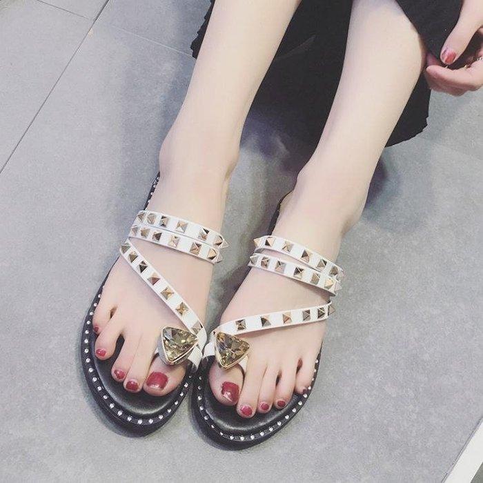 夏季新款韓版chic涼拖鞋女時尚水鑽平底外穿套趾拖鞋兩穿女鞋 【korea時尚記】