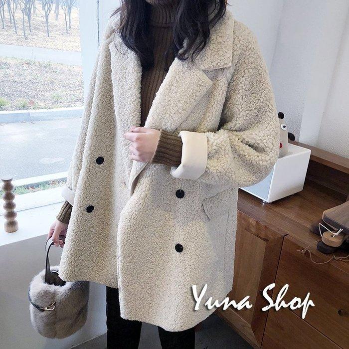 ☆YUNA SHOP☆韓國風【2-103】可愛捲捲羊羔毛西裝領加厚保暖外套大衣/三色 預購 兩件免運