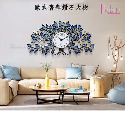 ☆[Hankaro]☆ 創意新風格立體壓克力歐式奢華鑽石大樹掛鐘
