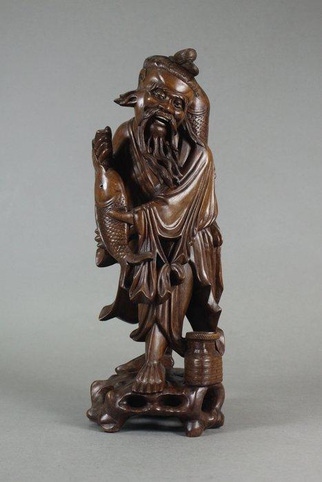 悅年堂 --- 清代 硬木 雕 魚翁
