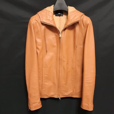 【全面優惠價】日本品牌HARE   頂級型男窄版柔軟羊皮連帽運動皮衣  真皮