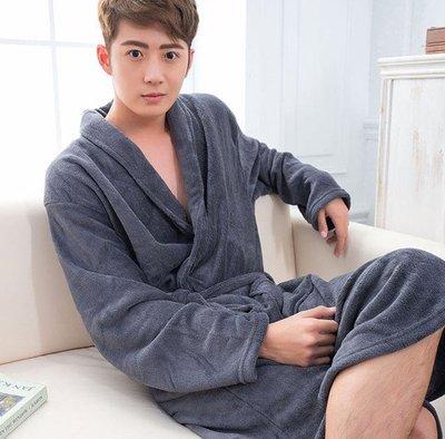 男士素色 法蘭絨睡衣 睡袍(深藍色)