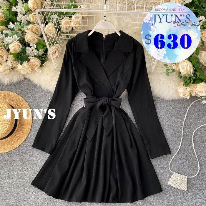 JYUN'S 初秋新款氣質輕熟風西裝領繫帶綁帶收腰顯瘦短款長袖洋裝連衣裙連身裙 4色預購
