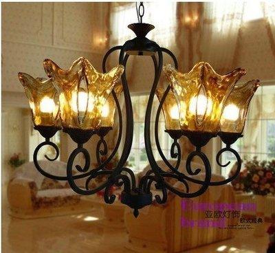 {美學}歐式鐵藝豪華茶色玻璃燈罩吊燈簡約田園風美式燈具MX-2084