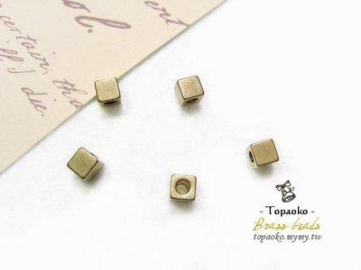 《晶格格的多寶格》串珠材料˙隔珠配件 實心黃銅方珠一份(8P)【F7156】4mm