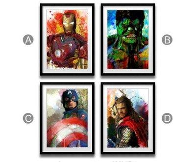ABOUT。R 正版復仇者聯盟鋼鐵人美國隊長綠巨人雷神潑墨油畫裝飾畫英雄人物創意電影掛畫(多款可選)