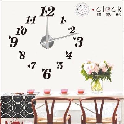 【鐘點站】12S004  小愛心+數字DIY 大時鐘 大壁鐘 100x100 cm 壁貼時鐘 立體無框掛鐘