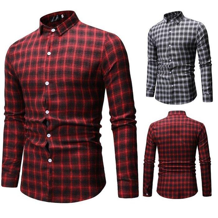 『潮范』  N3 新款外貿休閒格子大碼襯衫 翻領男士長袖襯衫 格紋襯衫 拼接襯衫 襯衣NRG202