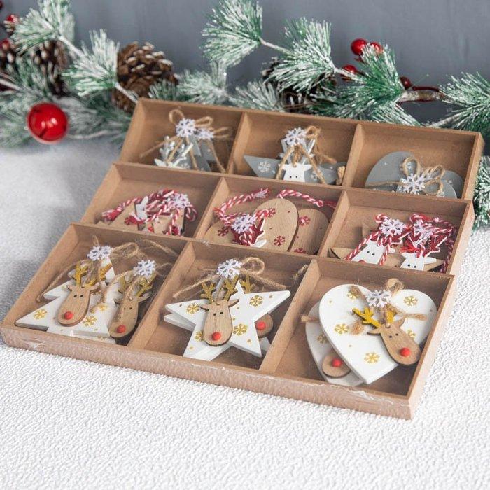 聖誕專區  圣誕節ins木質北歐雪花老人鹿滑雪掛件圣誕樹花環藤條掛飾裝飾品星期八 貨到付款