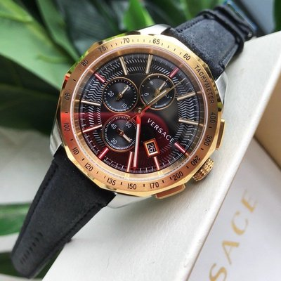 全新正品Versace Glaze 凡賽斯 三眼計時 皮革 錶 手錶 Versace錶