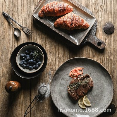有一間店-復古陶瓷餐具磨砂黑圓盤 酒店自助餐水果碗西餐牛排盤子 家用湯碗(規格不同 價格不同)