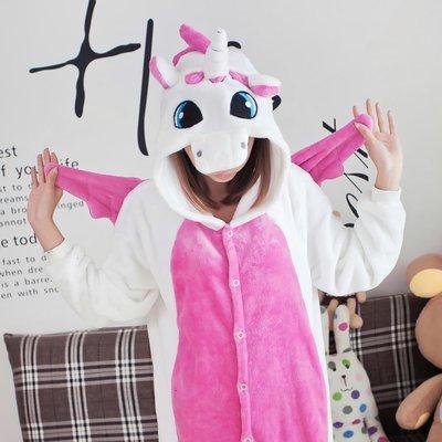 艾莉小舖~春秋冬加厚 卡通 粉紅獨角獸 連身睡衣~如廁版~,cosplay角色扮演情侶 禮物~滿2千免運