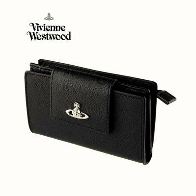 Vivienne Westwood ( 黑色×金屬銀色土星 ) 真皮 防刮壓紋 兩摺中夾 皮夾 錢包|100%全新正品|特價 !