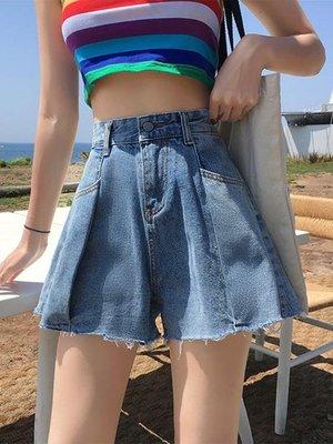 春裝韓版2020新款高腰顯瘦設計感褶皺毛邊A字牛仔闊腿短褲女熱褲