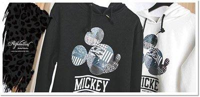(MARVELOUS) REPUTATION Mickey -米奇異材質拼接帽T 白M 黑S