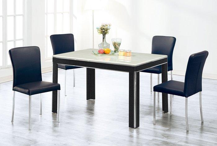 【南洋風休閒傢俱】造型餐桌椅系列-石面白鐵餐桌椅組 一桌四椅 餐桌椅組 人造石桌 白鐵腳餐椅 簡單俐落(SY205-1)