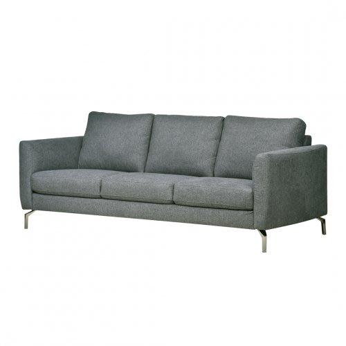 【歐雅系統家具】里瑟鋼骨布沙發-三人座-鐵灰