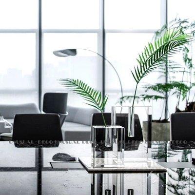 宏美飾品館~現代簡約極簡輕奢透明水晶方塊花器花瓶花插擺件樣板房售樓處飾品