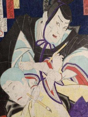 【三顧茅廬 】 (拍賣稀品) 日本畫家 豐原國周(1835一1900)的原創木版畫。