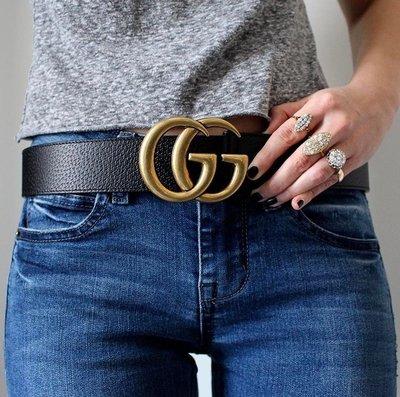 Gucci 397660 Logo leather belt GG logo 皮質腰帶 黑 85 cm 現貨