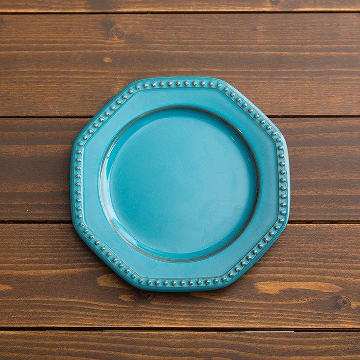 [偶拾小巷] 日本製 美濃燒 ROOTS Coline 歐式八角型餐盤19cm - 土耳其藍色