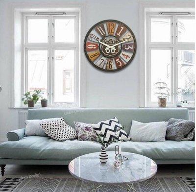 【Uluru】Loft 美式復古工業風 仿舊時鐘 40cm 鐡牌掛鐘  設計師款 鐵件時鐘 靜音機芯