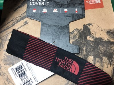 THE NORTH FACE 排汗 頭巾 TNF 鮮紅 黑格印花 (防曬、圍巾、護腕、多功能 adidas )