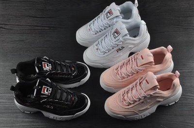 全新正品 FILA斐樂Disruptor II 2代大鋸齒厚底增高 百搭 女鞋 休閒運動鞋 慢跑鞋 小白鞋 粉色 黑色