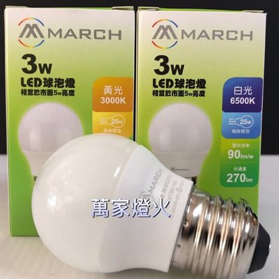 萬家燈火~MARCH LED 3W 燈泡 球泡 E27 全電壓 黃光 白光 3000K 6500K 小夜燈