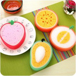 廚房清潔-超可愛水果海綿擦(芒果、草莓、哈密瓜、甜橙)