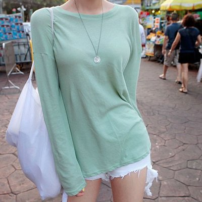 長袖T恤 素色後背塗鴨側開叉長袖上衣 艾爾莎 【TGK7888】