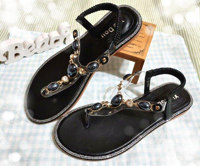 【Alice秘密衣櫥】韓 外單 波西米亞 蛋白石鑽邊女神系涼鞋 尺寸24
