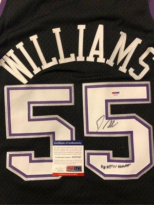 售回憶~~Jason Williams Mitchell & Ness 國王 Kings 55號球衣 (含親簽、綽號white chocolate、PSA認證)
