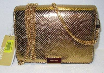 【Q比購】Michael Kors Jade中號金色壓紋皮革中號扣板手拿包斜挎包 全新