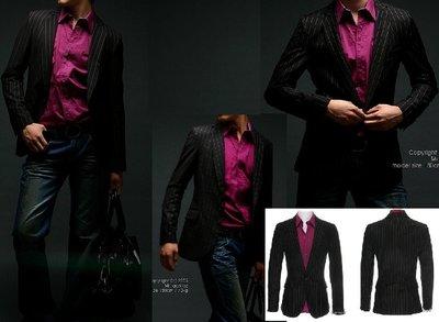 [韓國MORPHINE] 黑色條紋時尚單扣魚口領西裝外套