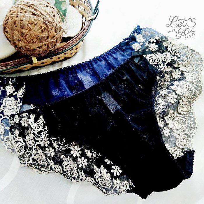 * 低腰內褲 *❉︵ 法式浪漫玫瑰刺繡低腰網紗內褲 ︵❉2色。Let's Go lulu's。AC83