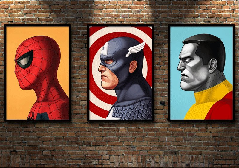 漫威電影海報美漫英雄頭像肖像裝飾畫漫畫定做萬磁王蜘蛛俠(多款可選)