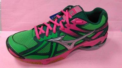 MIZUNO 美津濃 女款  WAVE BOLT 4  排羽球鞋 室內運動鞋  V1GC156033 綠粉 公司貨 現貨