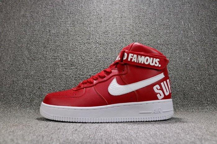Nike Air Force 1 High QS 紅色 經典 皮革 中幫 休閒滑板鞋 男女鞋 698696-610