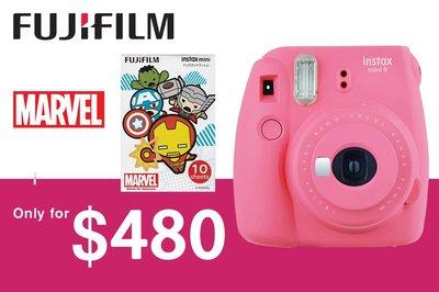 [DJS COMMERCE] Fujifilm Instax mini 9 Flamingo Pink 富士即影即有相機連 Marvel 復仇者聯盟相紙