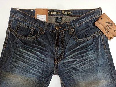 賠售【美國LEVI S專賣】USA潮牌antique rivet 復古藍金色縫線低腰窄管牛仔褲114美金W34L32現貨
